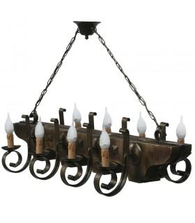 Lámpara forja y madera de 8 brazos