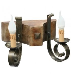 Aplique madera y forja, 2 bombillas