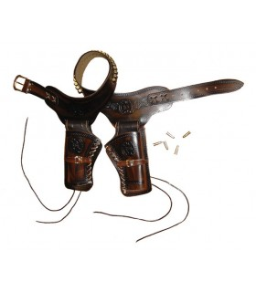 Leder Patronengürtel für 2 Revolver
