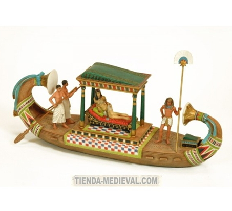 Figura Cleopatra viajando en barca Preciosas figuras egipcias para decorar
