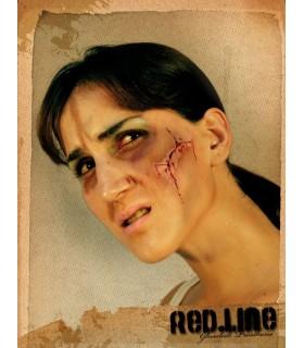 Maquillaje cara cortada con sangre