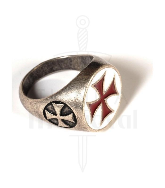 Anillo Cruz Templaria esmaltada