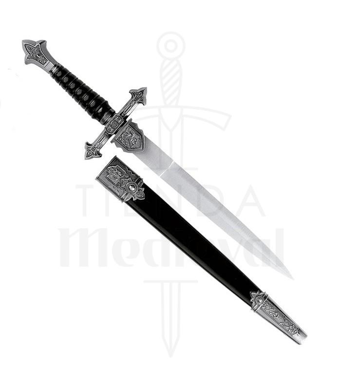 Daga medieval con vaina, 35 cms.