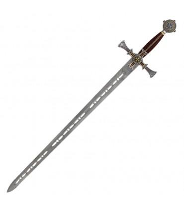 Espada templaria damasquinada