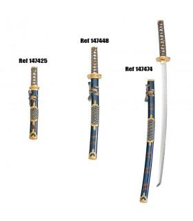 Wakizashi vaina azul-oro