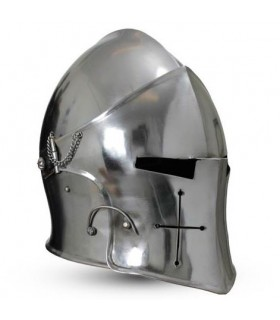 Barbuta medieval con visor