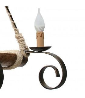 Lámpara forja y madera de 4 brazos
