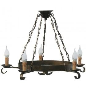 Lámpara cadena forja, 5 brazos