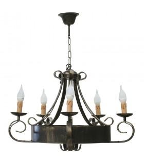 Lámpara forja de 5 brazos