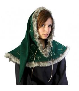 Capucha medieval verde cordones