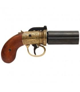 Revólver Pimentero 6 cañones, latonado