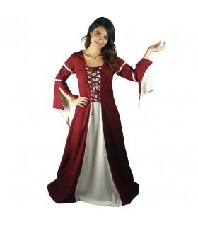 Vestido medieval mujer Rojo-Crema
