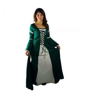 Vestido medieval mujer Verde-Blanco