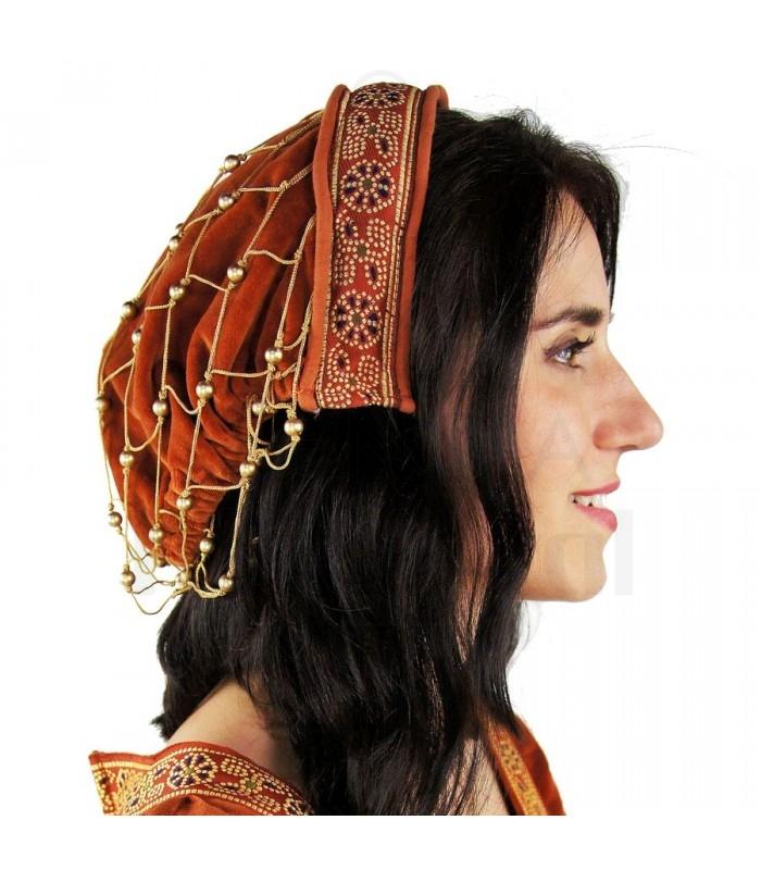 Tocado medieval redecilla Terracota. Tocados - Sombreros-Gorros