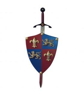 Mini-escudo Príncipe Negro con mini-espada