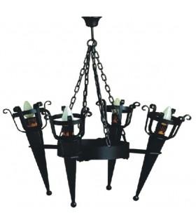 Lámpara forja 4 antorchas (86x80 cms.)