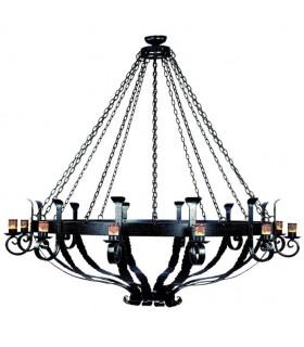 Lámpara forja rueda de madera, 6 luces