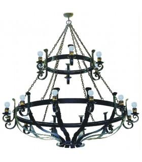 Lámpara forja grande cadenas, 18 luces