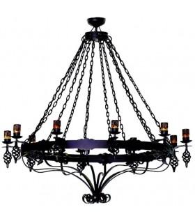 Lámpara forja grande cadenas, 10 luces
