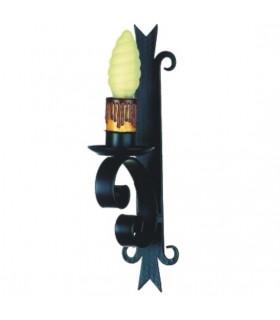 Aplique vela forja medieval, 1 luz