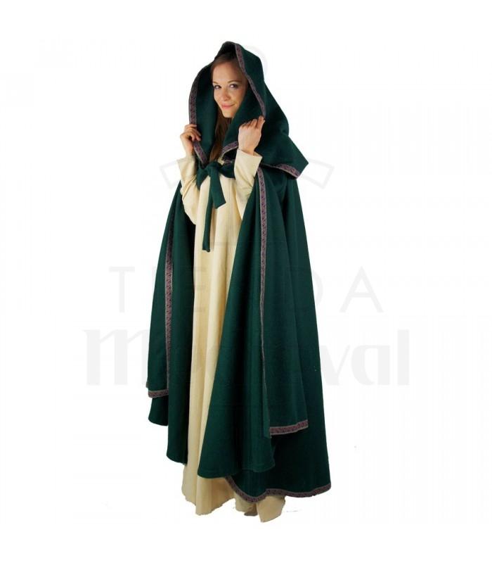 Capa medieval verde mujer con capucha