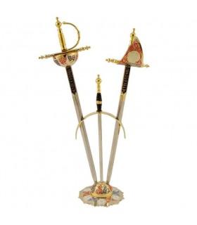 Set 2 mini-espadas Renacimiento con soporte