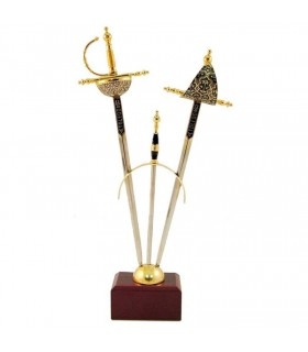 Set 2 mini-espadas Renacimiento damasquinadas