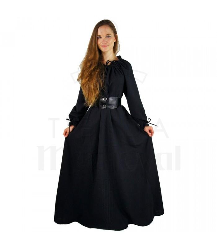 Largo Mujer Mujer Negro Medieval Medieval Vestido Mujer Negro Vestido Medieval Largo Vestido uikOPXZ