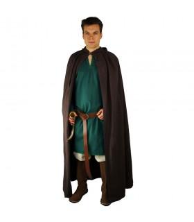 Capa medieval marrón oscuro larga