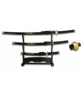 Katana, Wakizashi y Tanto con stand lacado en negro