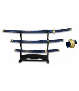 Katana, Wakizashi y Tanto rojo con stand lacado en negro