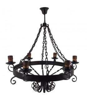 Lámpara forja cadenas, 6 bombillas