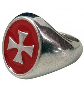Anillo Cruz Templaria roja