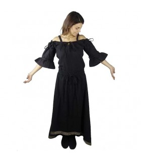 Blusa medieval negra con tirantes