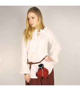 Blusa medieval Morgan blanca hombros al aire