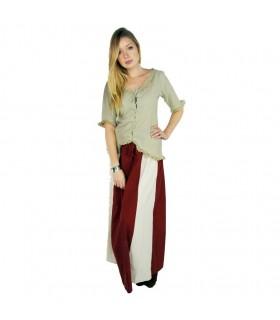 Falda medieval Bicolor Roja-Crema