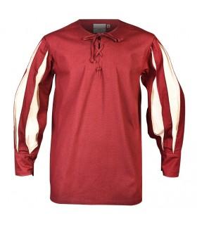 Camisa Toennes burdeos-crema
