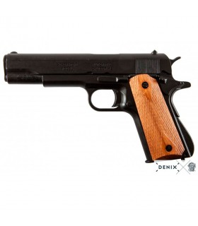 Pistola automática M1911A1 negra cachas madera, USA 1911