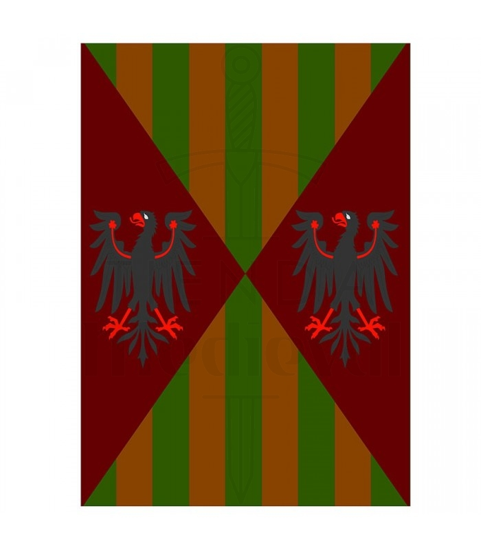 Estandarte medieval águilas y barras, varios tamaños