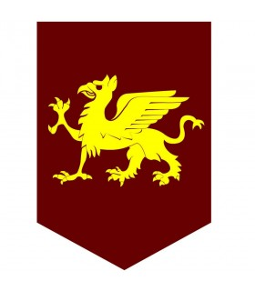 Estandarte medieval dragón amarillo, varios tamaños