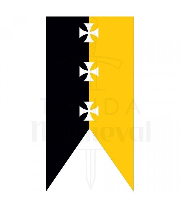 Estandarte medieval amarillo-negro cruces templarias
