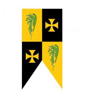 Estandarte medieval cruces templarias con dragones