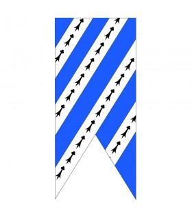 Mittelalterliche blaue Himmel-weiße Fahne