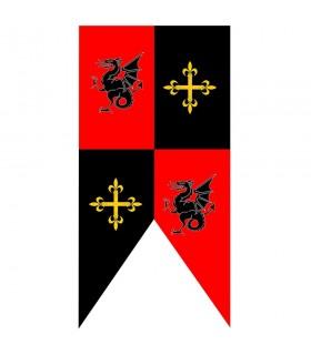 Mittelalterliche Standardbaracken Drachen und Kreuze