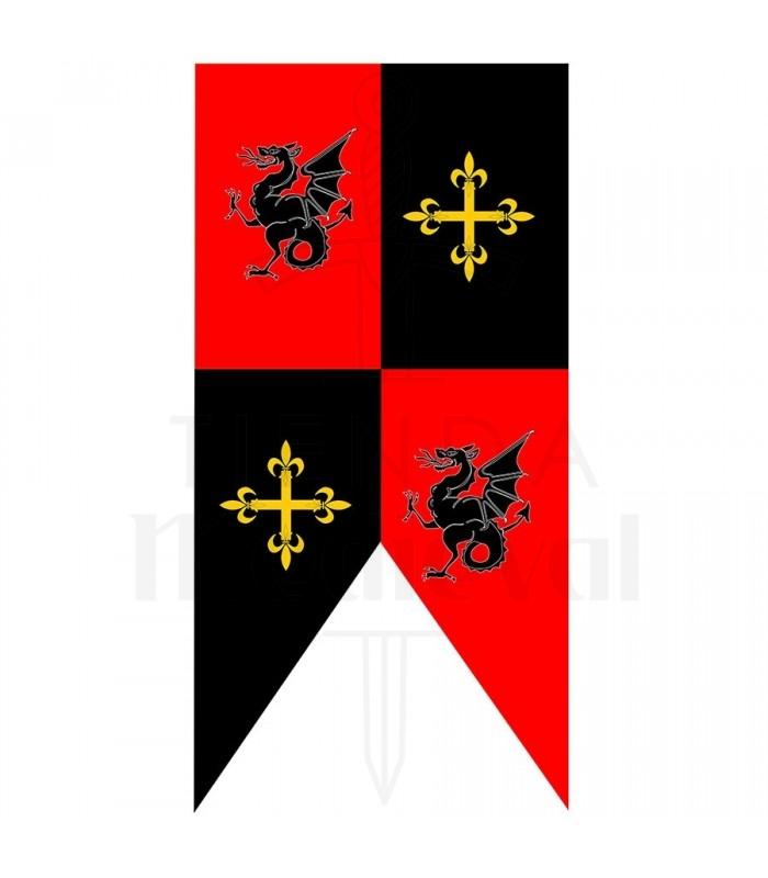 Estandarte medieval cuartelado dragones y cruces