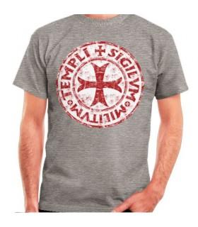 Camiseta Gris Cruz-Leyenda Templarios, manga corta