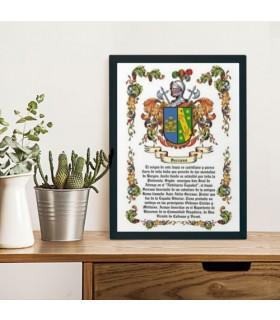 Cuadro escudo heráldico 1 apellido (32,5x42,5 cms.)