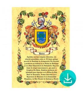 Pergamino Virtual escudo de armas 1 apellido