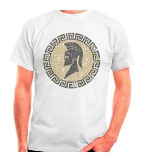 Camiseta Espartano blanca, manga corta