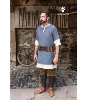 Tunika Mittelalterliche Aegir Blau-Grau-kurzarm